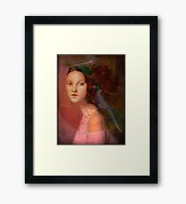 Girl with parrot Framed Print
