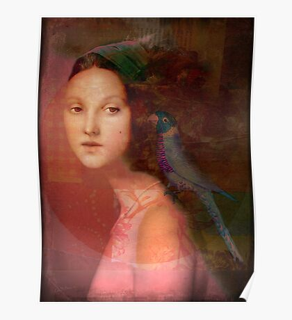 Girl with parrot Poster