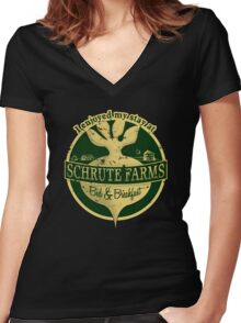I enjoyed my stay at Schrute Farms (Green) Women's Fitted V-Neck T-Shirt
