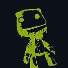 Little Big Planet Sackboy Green on Black iPhone Case by TalkThatTalk