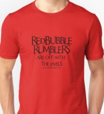 RB Rumble shirt ~ Off with the pixels (black text for red fabric) Unisex T-Shirt