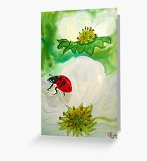 Strawberry Blossom Ladybug Greeting Card