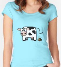 Funny Pooping Cow Women's Fitted Scoop T-Shirt