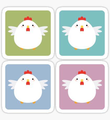 White Kawaii Chicken Square Pattern Sticker
