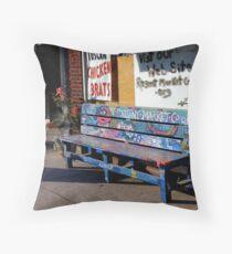 Market Bench Throw Pillow