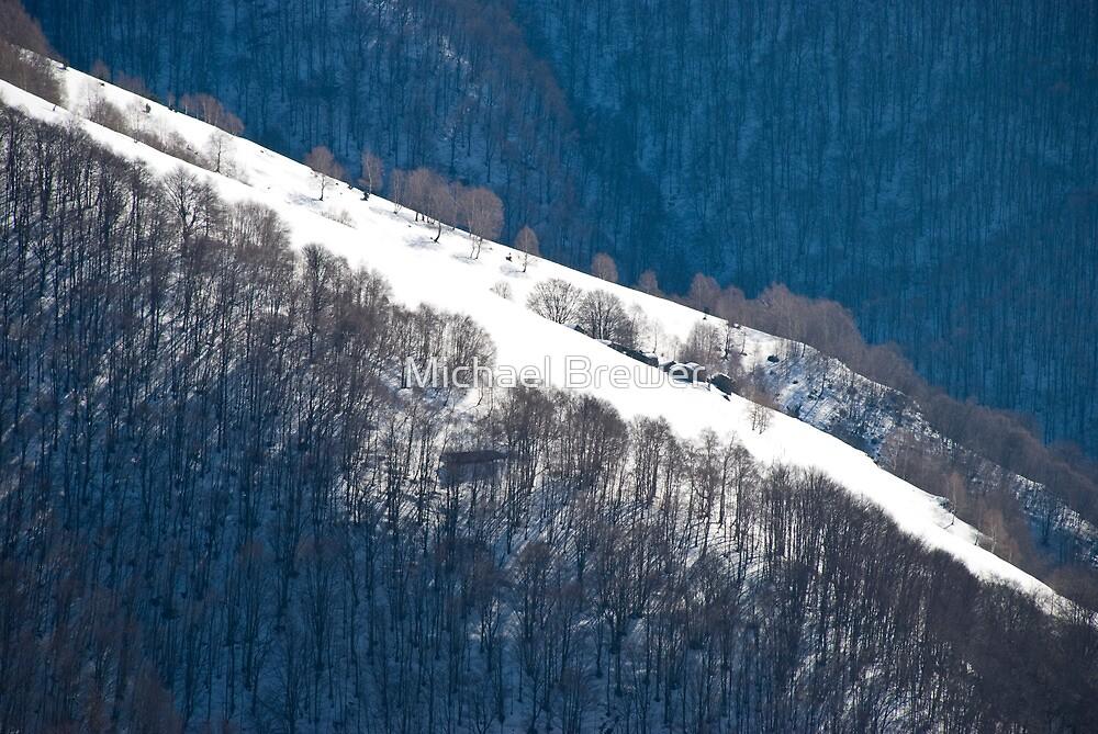 Alpine huts seen from Alpe di Neggia by Michael Brewer