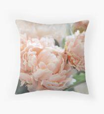 Peach Peonies Throw Pillow