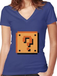 Question Brick Women's Fitted V-Neck T-Shirt