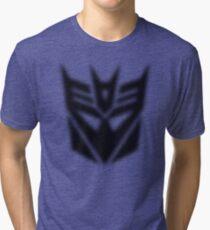 Halftone Decepticon Symbol, Black Tri-blend T-Shirt
