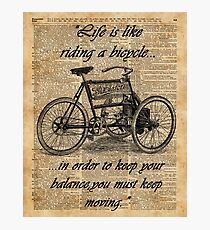 Vintage Tricycle Motivational Quotes Antique Dictionary Book Page Art Photographic Print