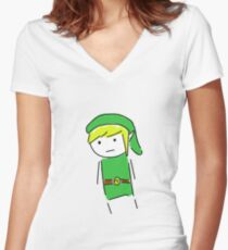 Link Doodle Women's Fitted V-Neck T-Shirt