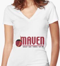 Mars Atmosphere and Volatile EvolutioN Mission (MAVEN) Logo Women's Fitted V-Neck T-Shirt