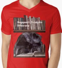 Support Primate Literacy Men's V-Neck T-Shirt