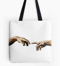 Creation Of Adam Hands Tote Bag