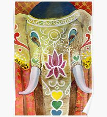 Thai Painted Elephant Poster