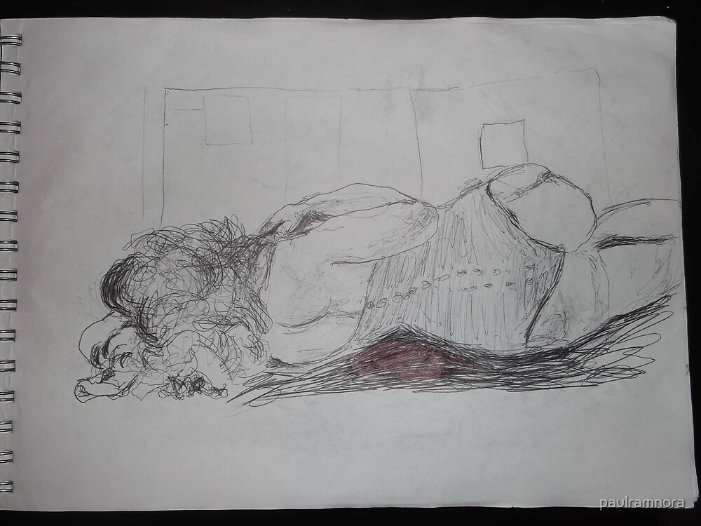 Life drawing(2 of 6) -(080212)- black biro pen/digital photo by paulramnora