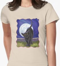 Animal Parade Black Cat Womens Fitted T-Shirt