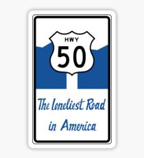 Highway 50, The Loneliest Road in America Sticker