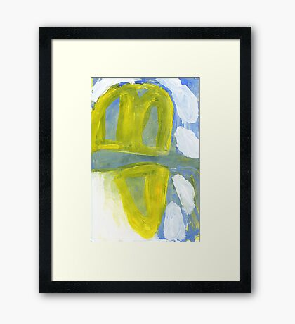 hills surrounded by white clouds Framed Print