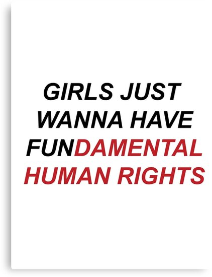Girls Just Wanna Have Fundamental Human Rights Canvas Print By