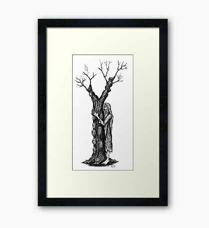 Unity of Souls surreal black and white pen ink drawing Framed Print
