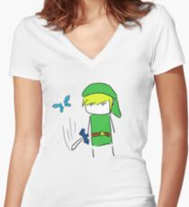 Hey! Lis- *slice* Women's Fitted V-Neck T-Shirt