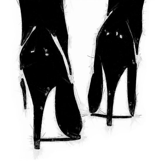 A Highly Erotic Drawing of Fashionable High Heel Shoes from Behind