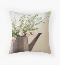 Baby Pink Roses Throw Pillow