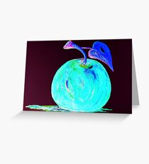 Abstract Blue And Teal Apple Greeting Card