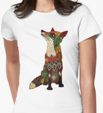 floral fox Women's Fitted T-Shirt