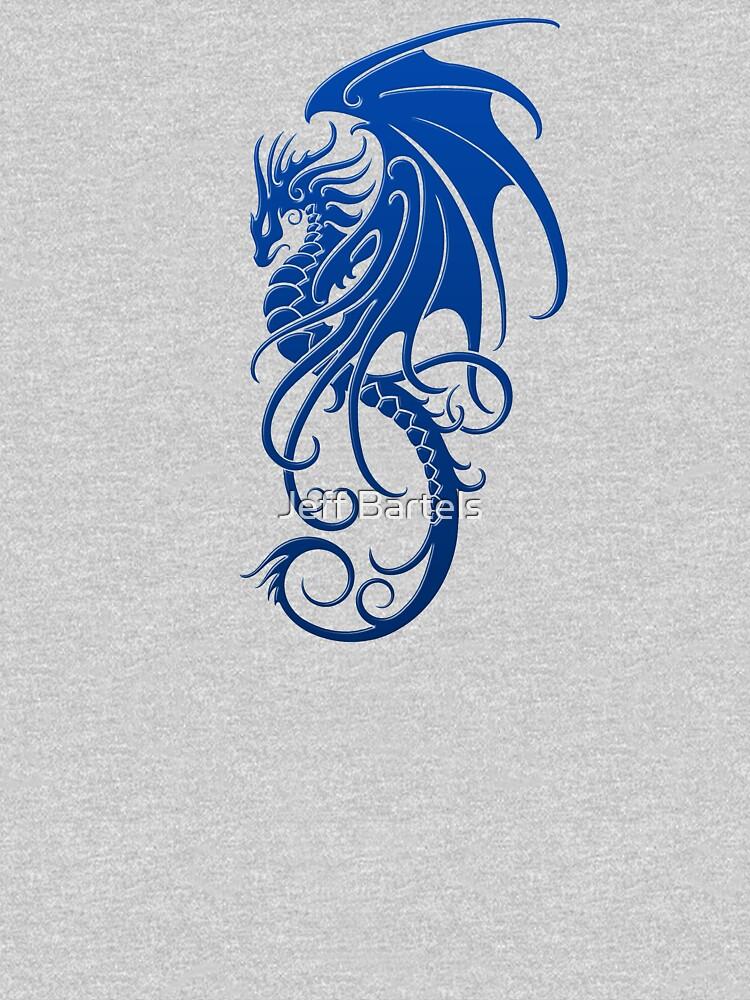 Flying Blue Tribal Dragon by JeffBartels