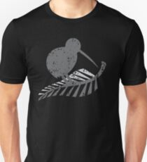 KIWI Vogel und eine SILVER FERN Distressed Version Unisex T-Shirt