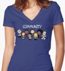 Greendale's Peanuts  Women's Fitted V-Neck T-Shirt