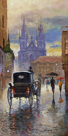 Prague Old Town Square Old Cab by Yuriy Shevchuk