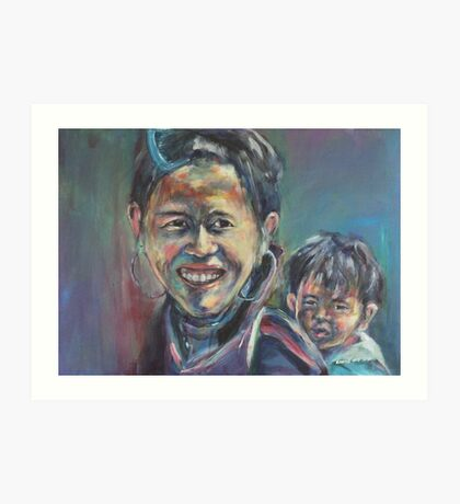 cambodian mother and son Art Print