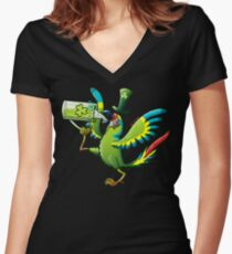 Saint Patrick's Day Macaw Women's Fitted V-Neck T-Shirt
