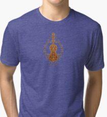 Aged Vintage Brown Tribal Violin Design Tri-blend T-Shirt