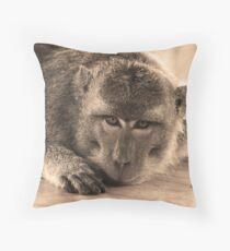 monkey staring at cam-sepia Throw Pillow