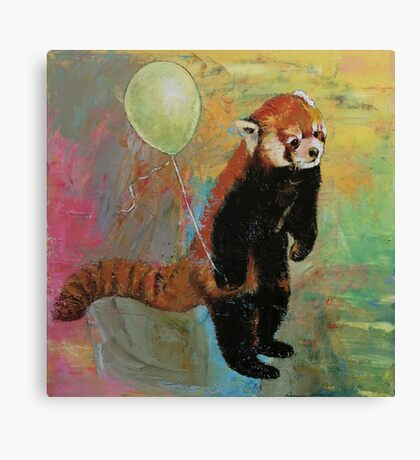 Red Panda Balloon Canvas Print