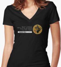 Black Pirates - 400th SQ - 90th BG - 5th AF    Emblem (White) Women's Fitted V-Neck T-Shirt
