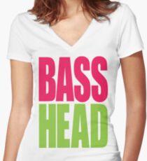 Bass Head (magenta/neon green)  Women's Fitted V-Neck T-Shirt