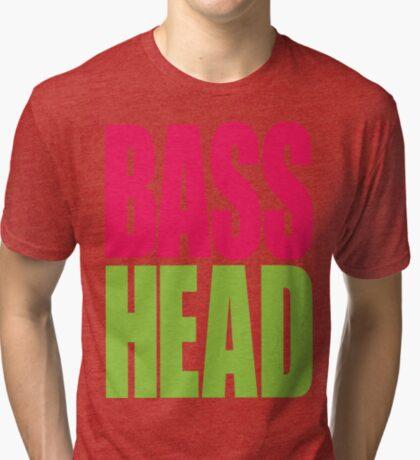 Bass Head (magenta/neon green)  Tri-blend T-Shirt