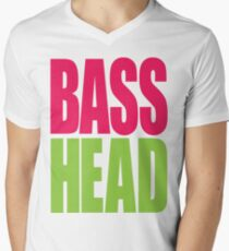 Bass Head (magenta/neon green)  Mens V-Neck T-Shirt