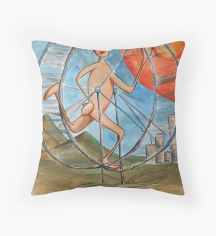 running to nowhere on the infinate hamster wheel Throw Pillow
