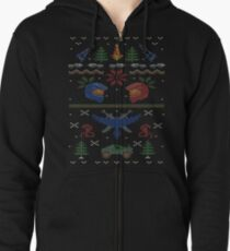 Ugly Red vs Blue Christmas Sweater Zipped Hoodie