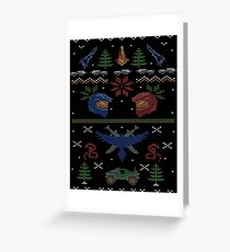 Ugly Red vs Blue Christmas Sweater Greeting Card