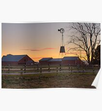 Wispy Clouds and a Windmill Poster