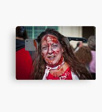 Zombie Walk Knife in Head Canvas Print
