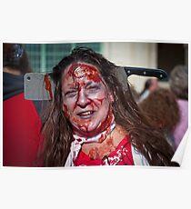Zombie Walk Knife in Head Poster