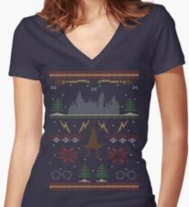 Ugly Potter Christmas Sweater Women's Fitted V-Neck T-Shirt